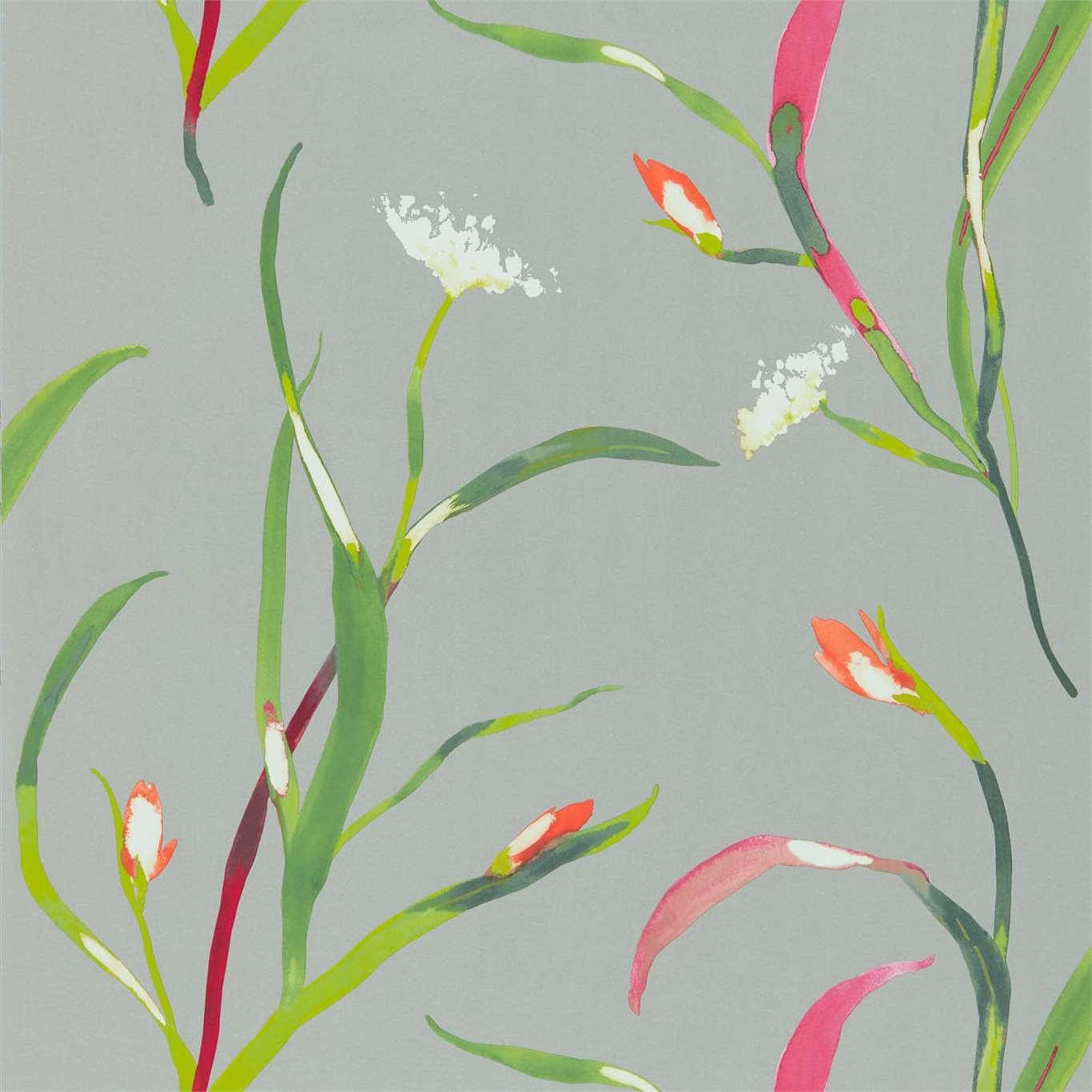 Image of Harlequin Saona Papaya/Silver Wallpaper 111759