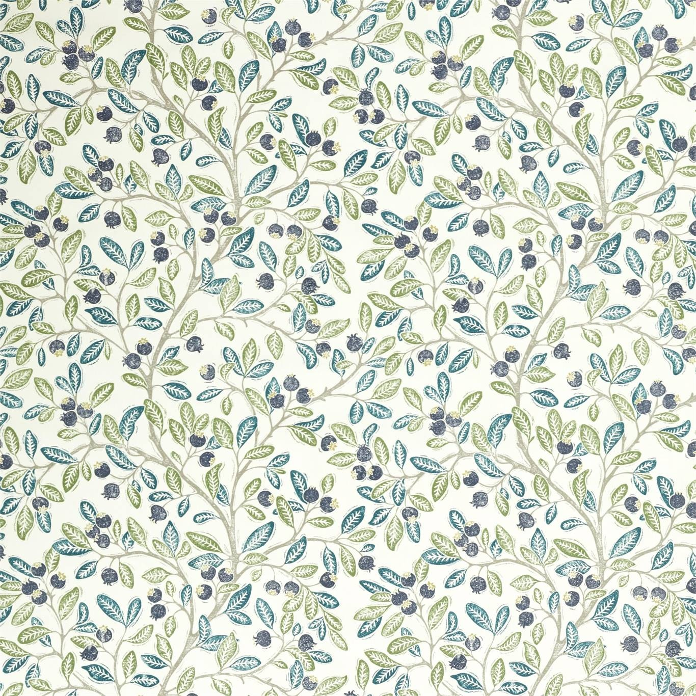 Image of Sanderson Wild Berries Blueberry/Sage Fabric 226745