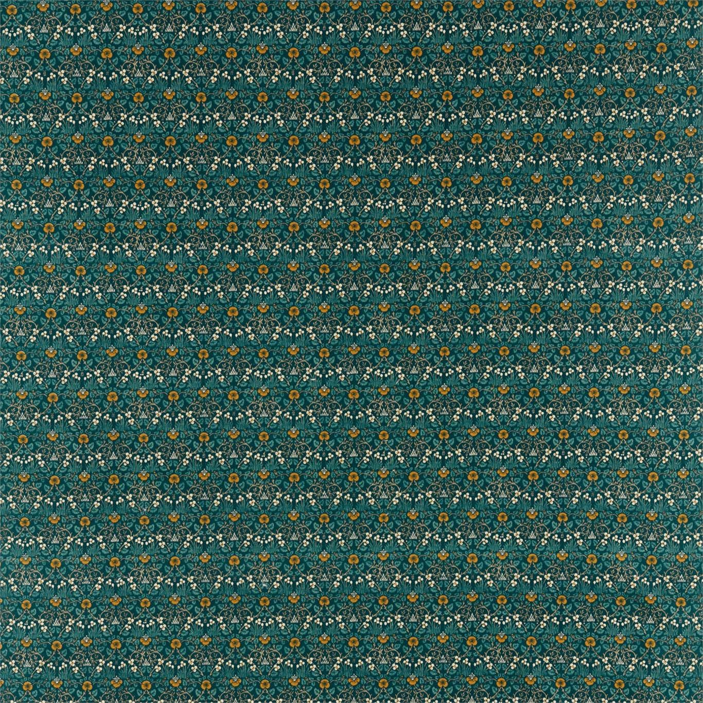 Image of Morris & Co Eye Bright Teal Fabric 226598