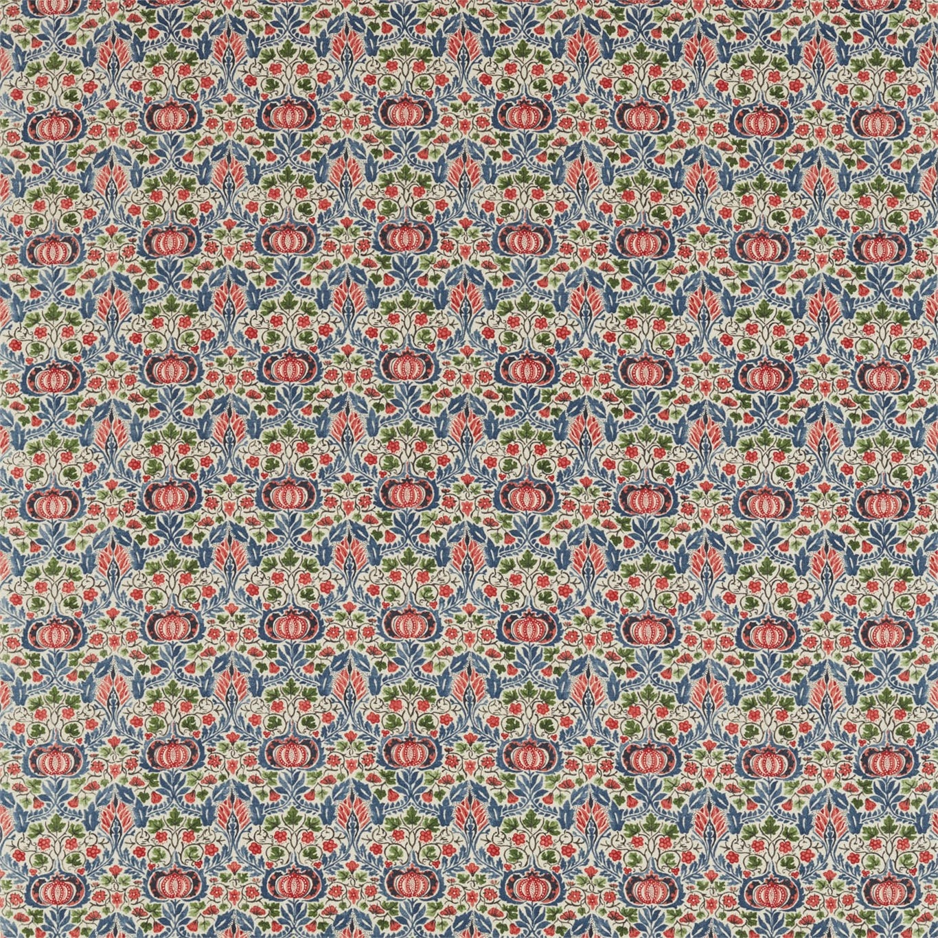 Image of Morris & Co Little Chintz Indigo/Carmine Fabric 226407