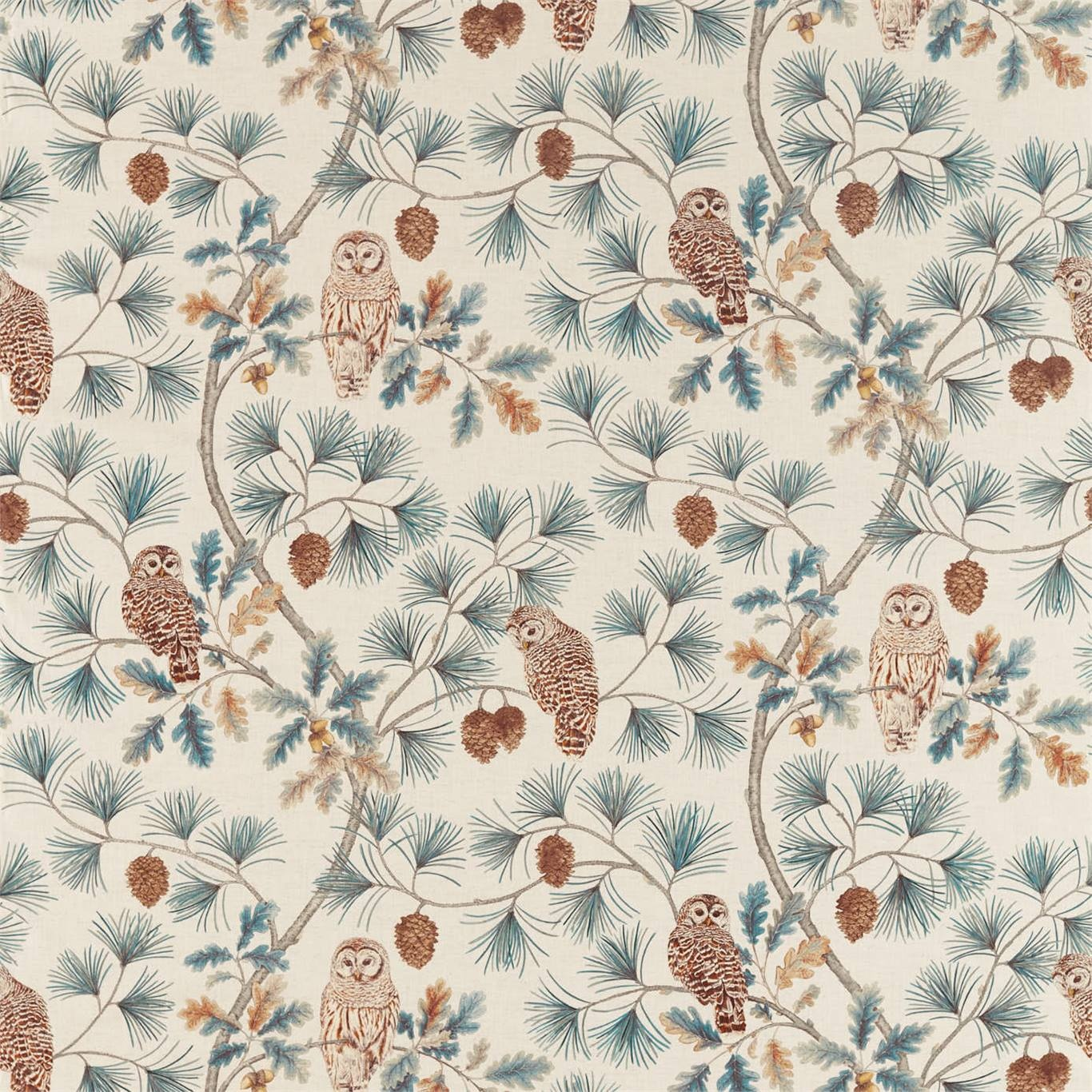Image of Sanderson Owlswick Teal Curtain Fabric 226524