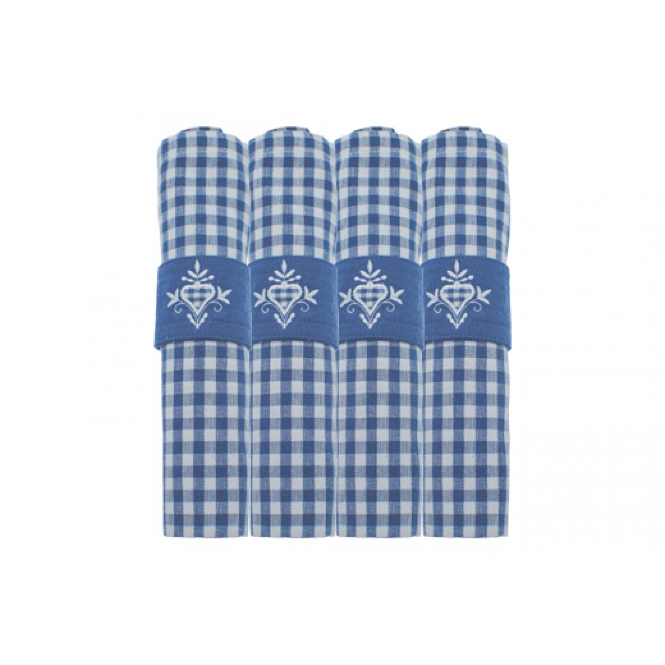 Image of Auberge Nordic Blue Check Napkins set of 4