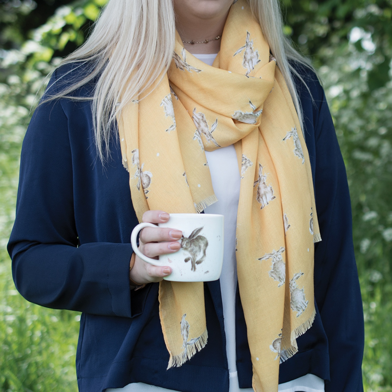 Wrendale Designs Mustard Leaping Hare Scarf