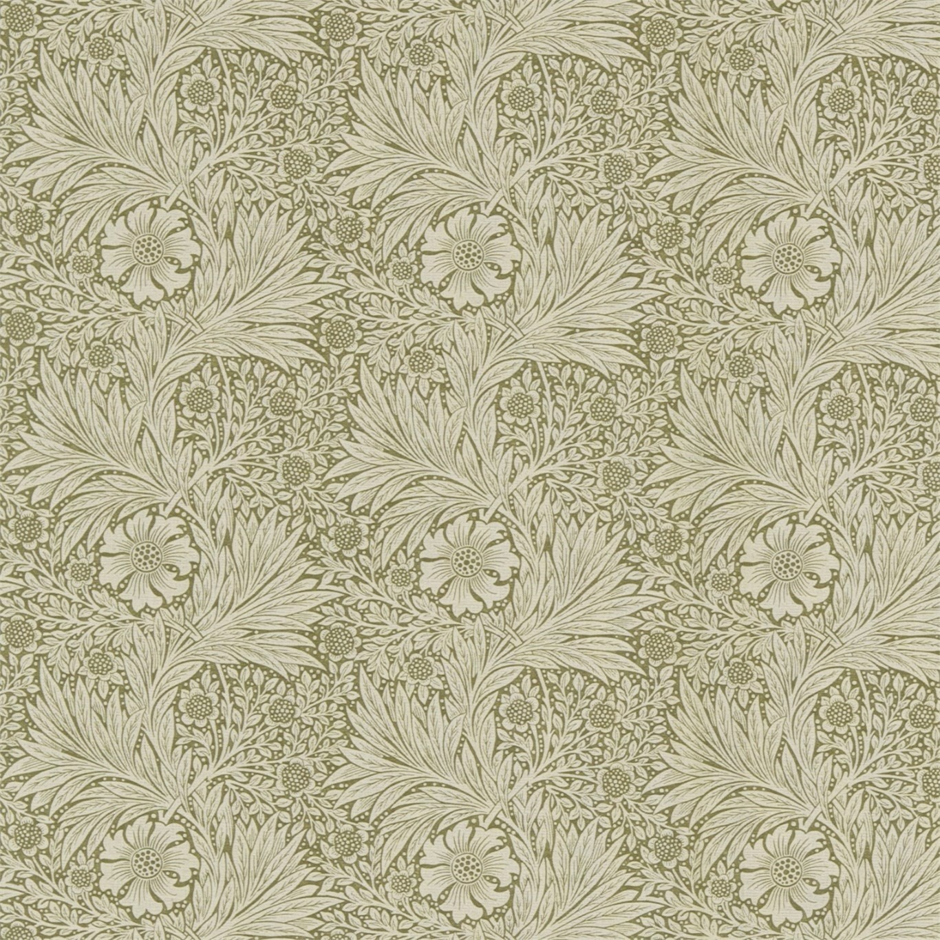 Image of Morris & Co Marigold Olive/Linen Fabric 220318 1.7m Remnant