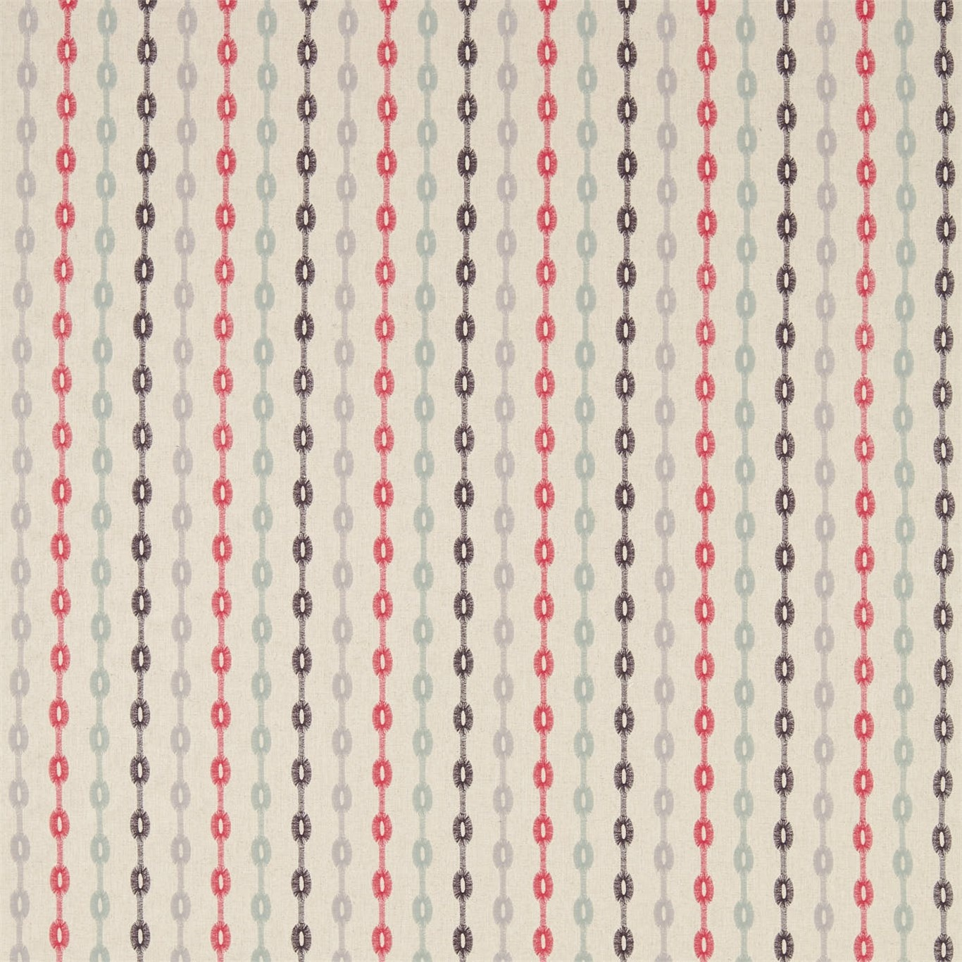 Image of Sanderson Home Shaker Stripe Coral/Celadon Curtain Fabric 235891
