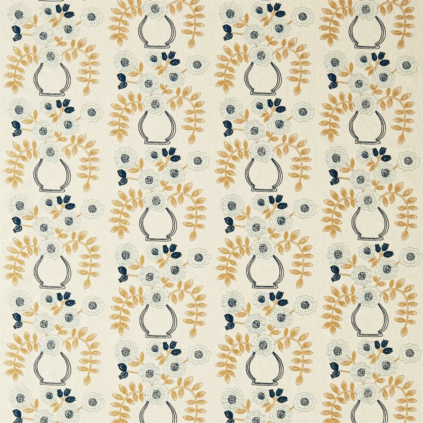 Image of Sanderson Home Flower Pot Dijon Curtain Fabric 235875