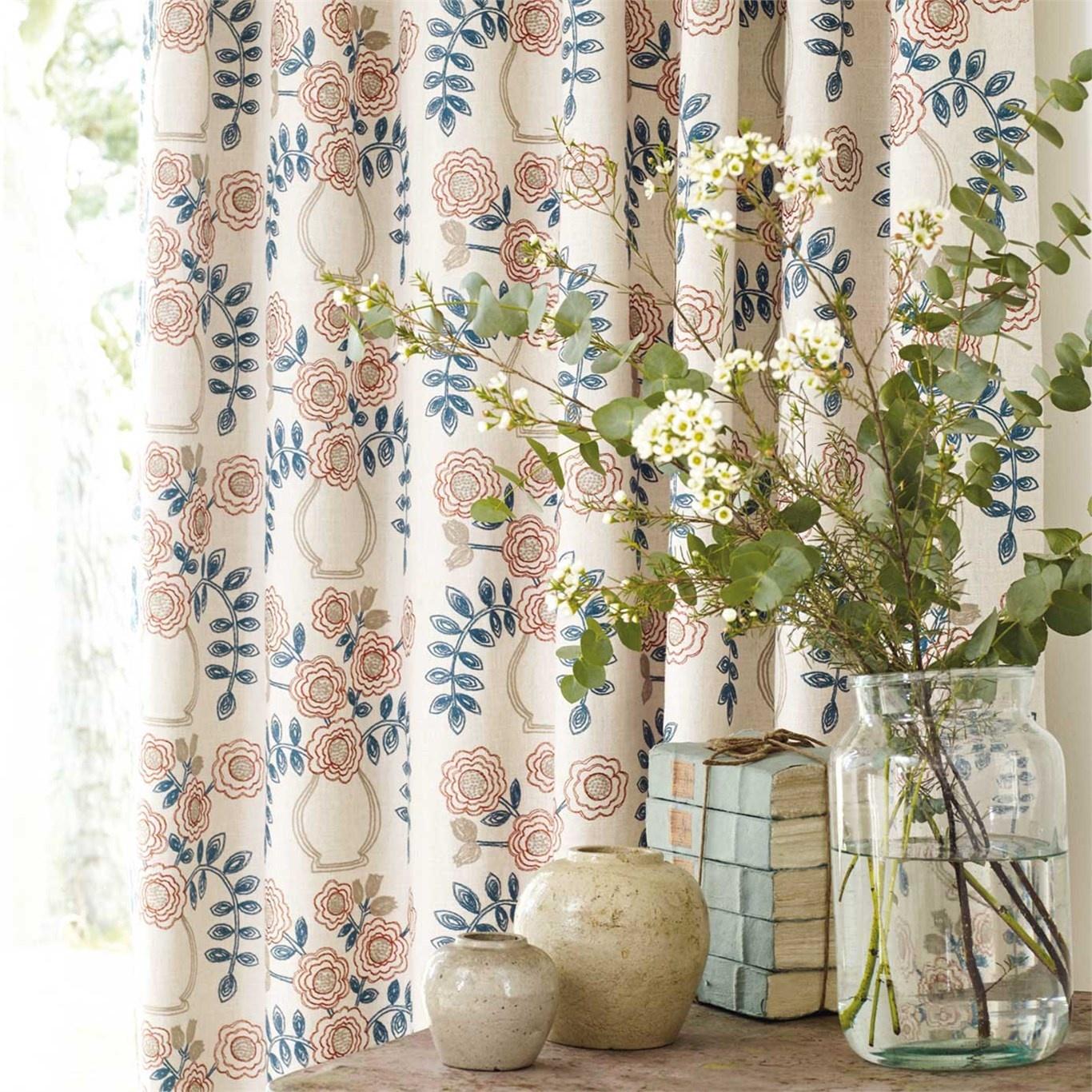 Sanderson Home Flower Pot Brick Curtain Fabric 235876