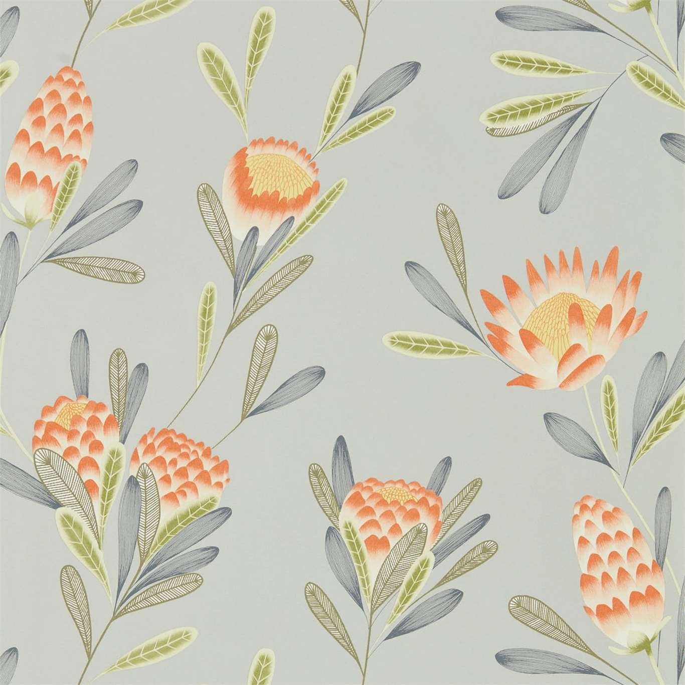 Image of Harlequin Cayo Coral/Silver Wallpaper 111773