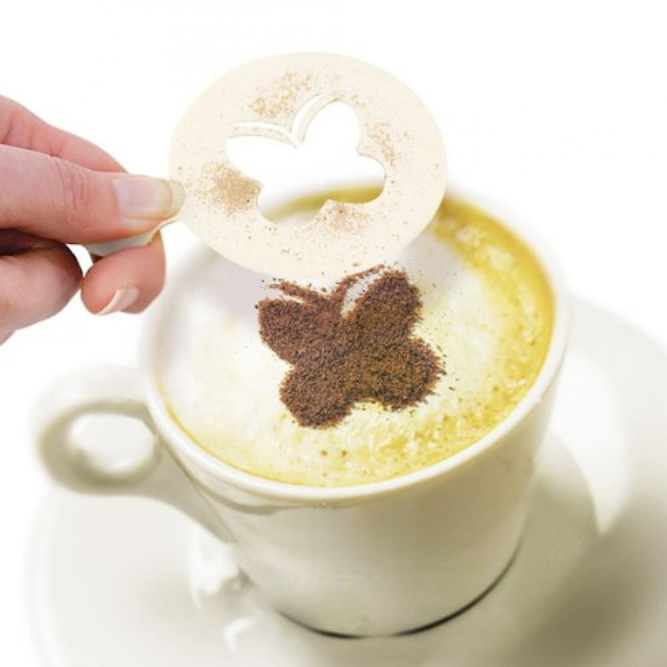 Как сделать кофе с трафаретом дома