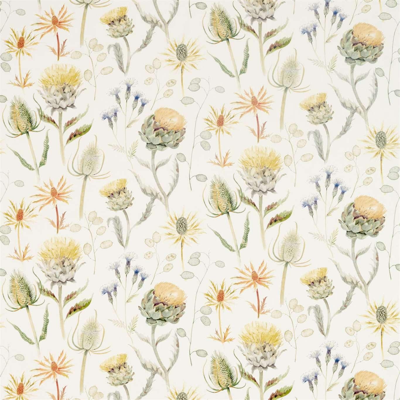 Image of Sanderson Thistle Garden Ochre/Olive Curtain Fabric 226422