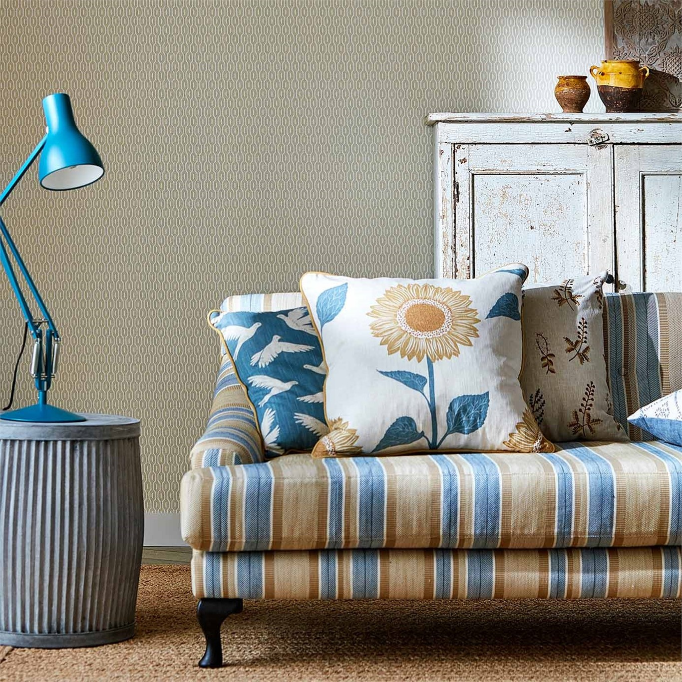 Sanderson Home Alcott Denim/Barley Fabric 236417