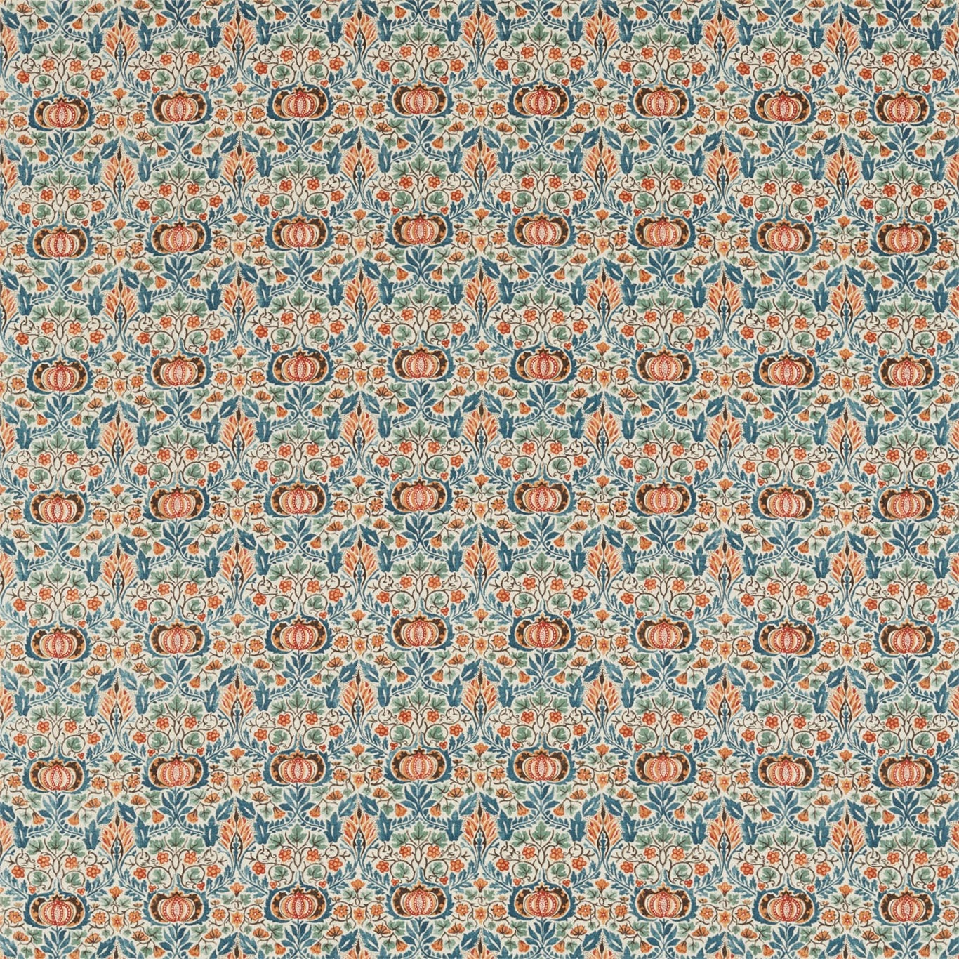 Image of Morris & Co Little Chintz Teal/Saffron Fabric 226409