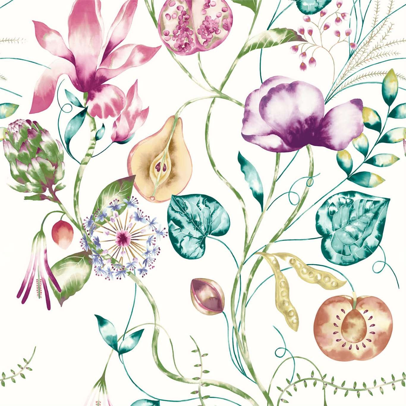 Image of Harlequin Quintessence Lagoon/Cerise Wallpaper 111775