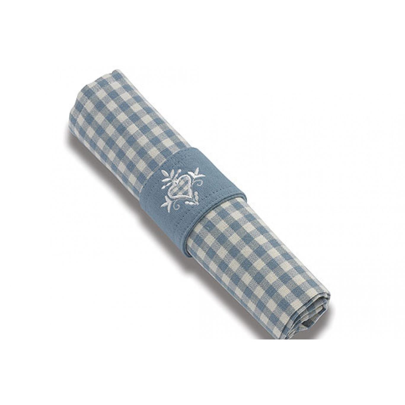 Image of Auberge Wedgwood Blue Check Napkins set of 4