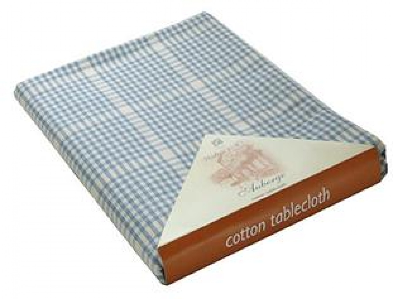 Image of Auberge Wedgwood Blue Check Tablecloth