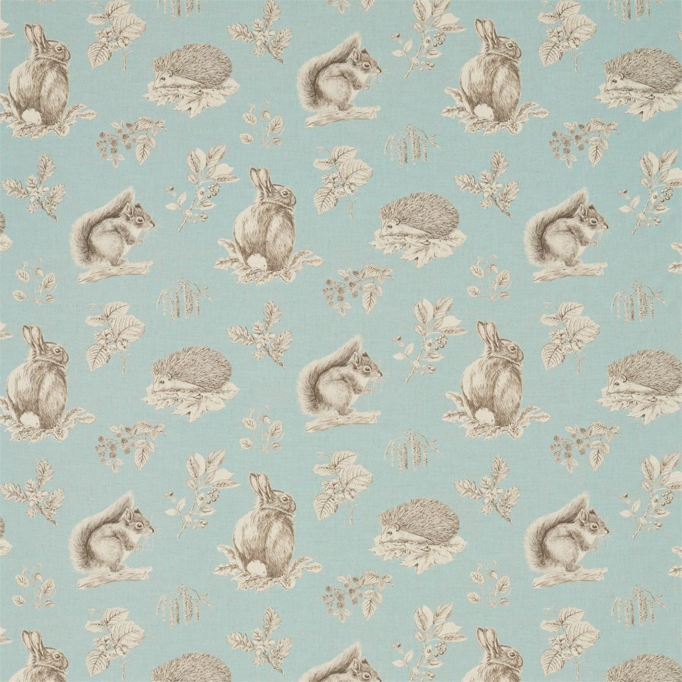 Image of Sanderson Squirrel & Hedgehog Sky Blue/Pebble Fabric 225521