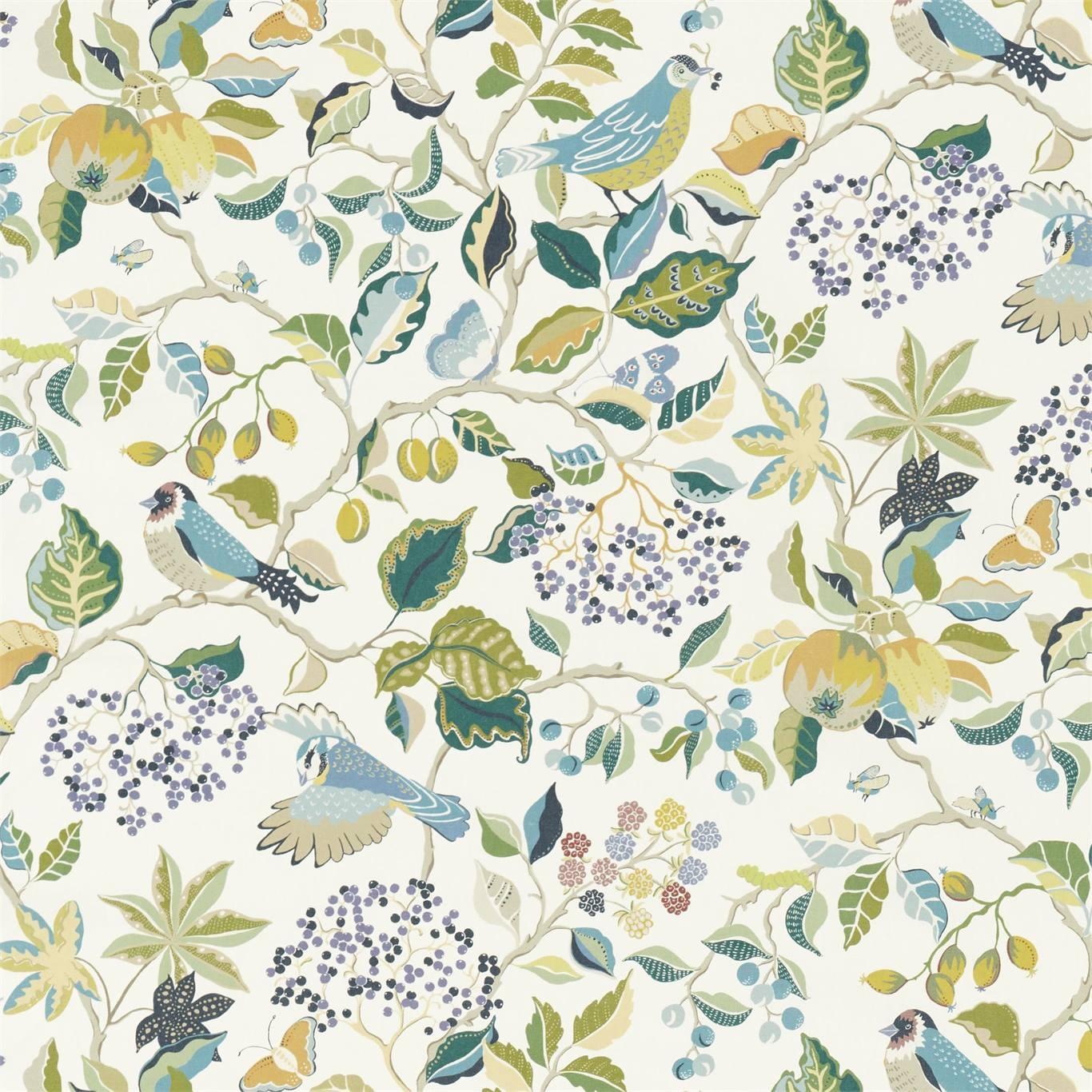 Image of Sanderson Birds & Berries Southwold Blue Fabric 226728