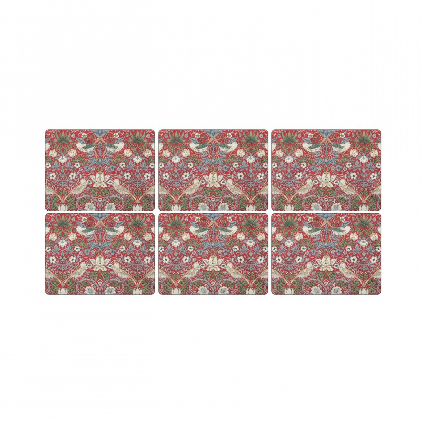 Image of  Pimpernel Strawberry Thief Red Placemats set of 6