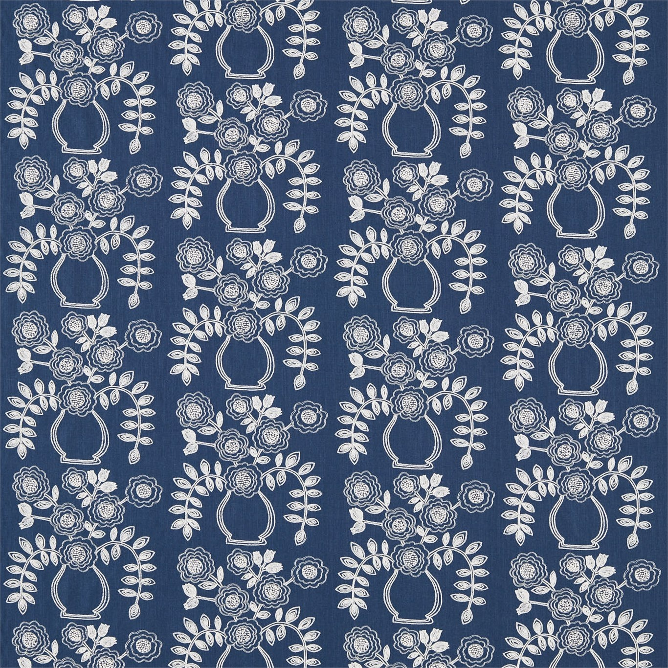 Image of Sanderson Home Flower Pot Indigo Curtain Fabric 235881