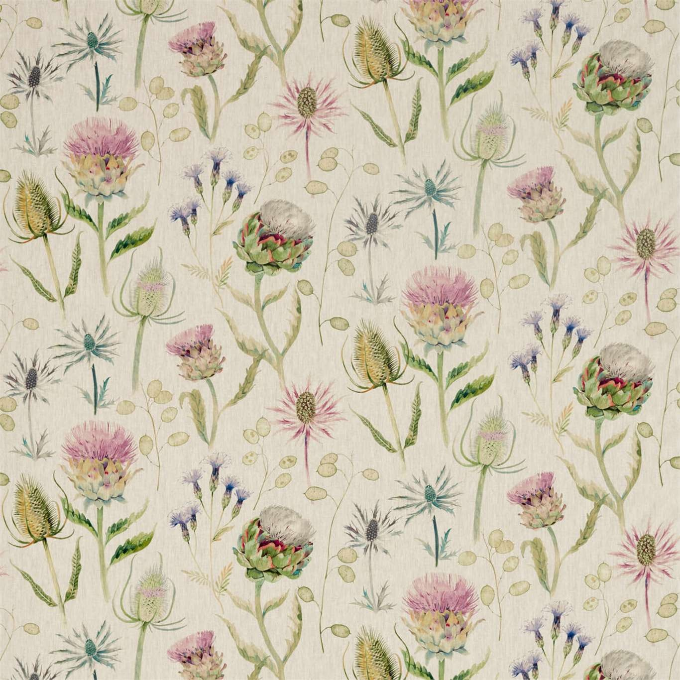 Image of Sanderson Thistle Garden Linen Thistle/Fig Curtain Fabric 226423