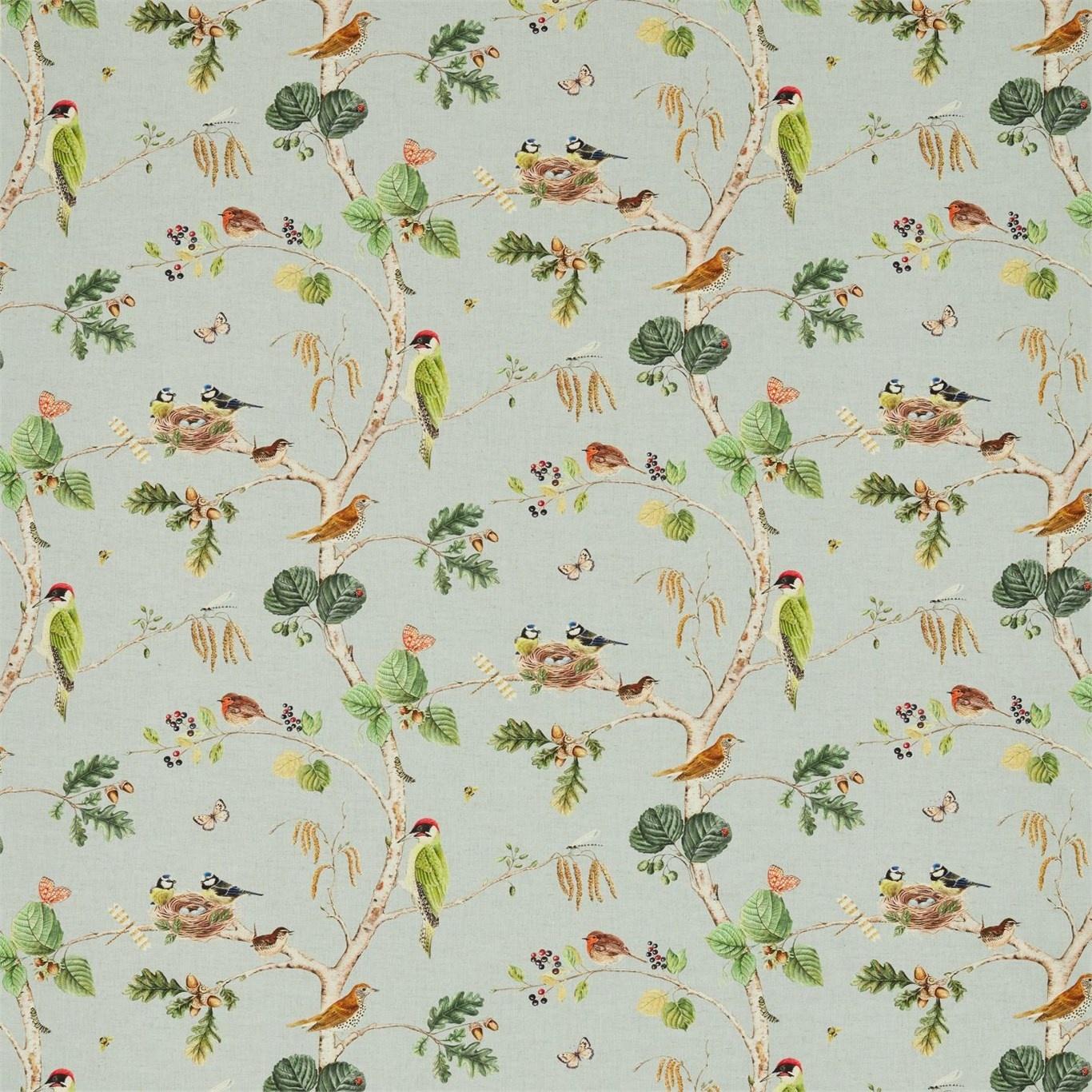 Image of Sanderson Woodland Chorus Sky Blue/Multi Fabric 225509