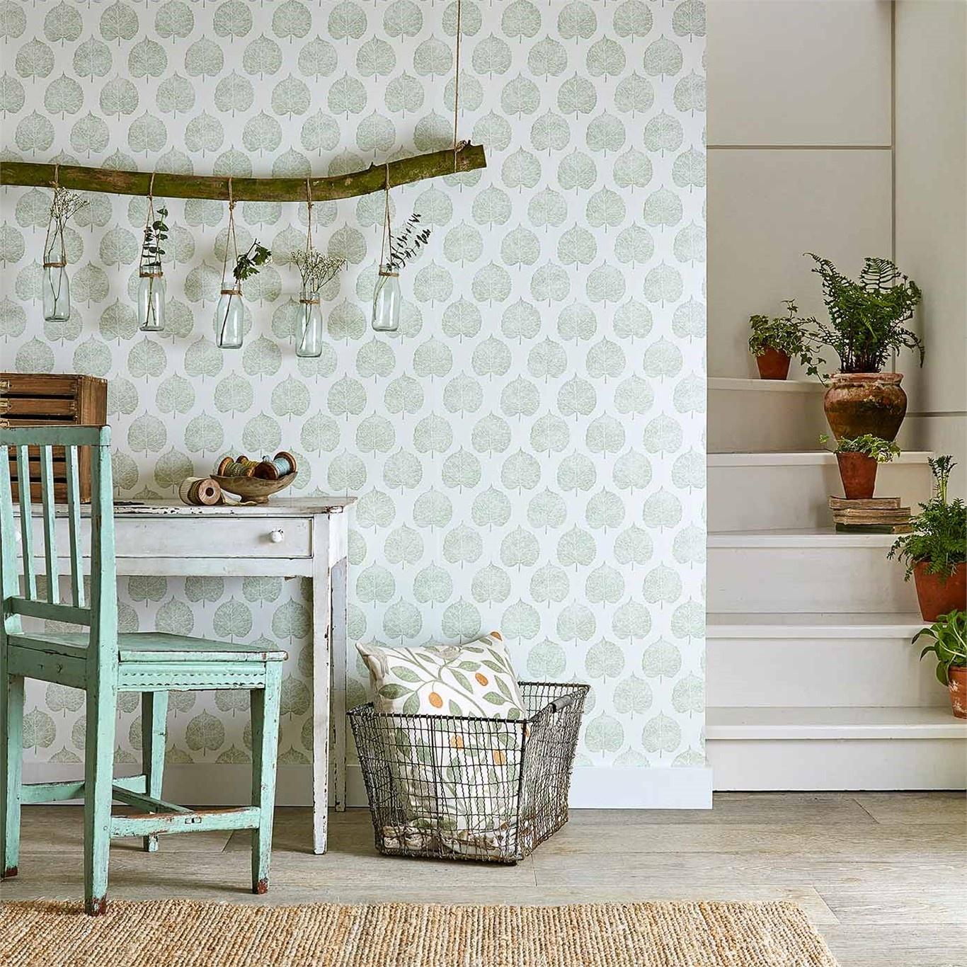 Sanderson Home Lyme Leaf Celadon Wallpaper 216383