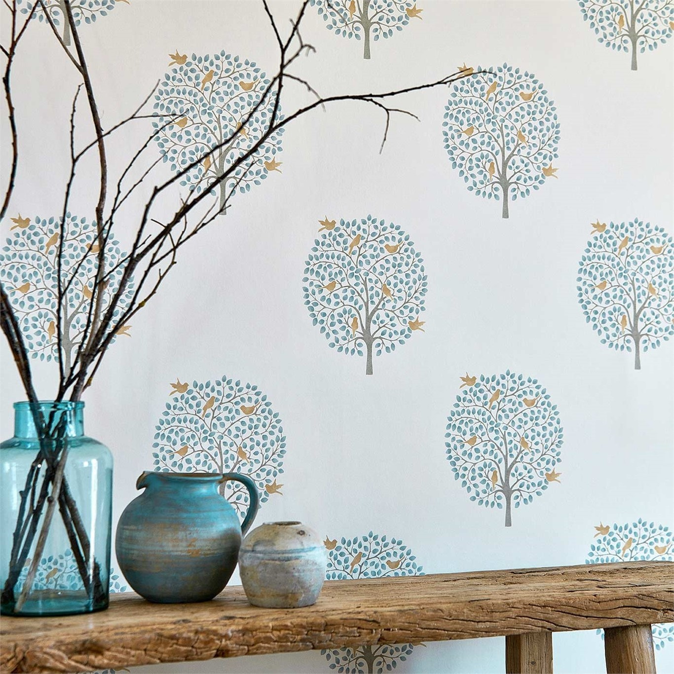 Sanderson Home Bay Tree Copper/Denim Wallpaper 216361