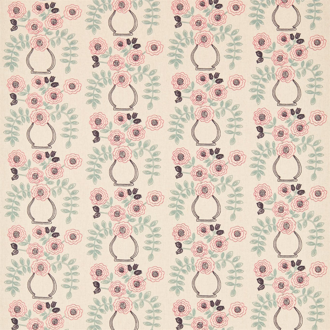 Image of Sanderson Home Flower Pot Coral/Celadon Curtain Fabric 235877
